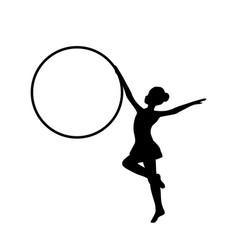 girl gymnastic sport silhouette sportswoman hula vector image