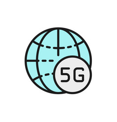 global 5g internet flat color line icon isolated vector image