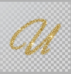 Gold glitter powder letter u in hand painted style vector