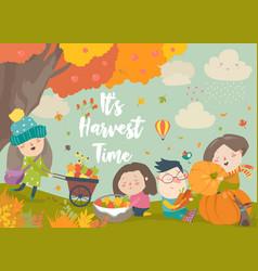 Happy cartoon children harvesting in autumn garden vector