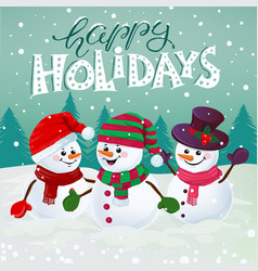 Happy snowmen vector