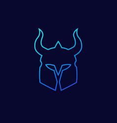 helmet with horns outline vector image