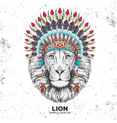Hipster animal lion with indian feather headdress vector