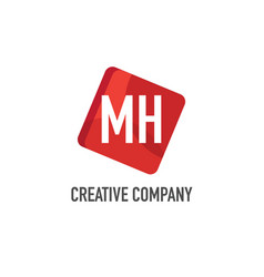 initial letter mh logo template design vector image