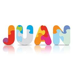 JUAN written with alphabet puzzle vector