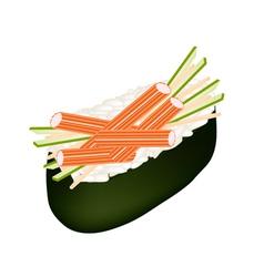 Kani Nigiri or Crab Stick Sushi on White vector image