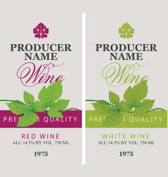 labels for red and white wine with green grapevine vector image