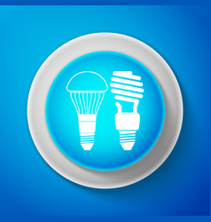 led lightbulb and fluorescent light bulb icon vector image