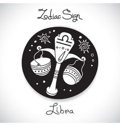Libra zodiac sign of horoscope circle emblem in vector image