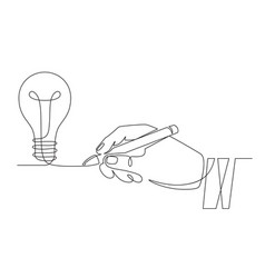 light bulb idea sketch hand with pen drawing one vector image