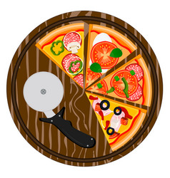 Logo for whole round hot pizza vector
