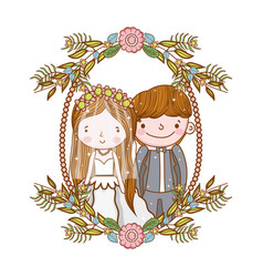man and woman wedding in the frame with flowers vector image