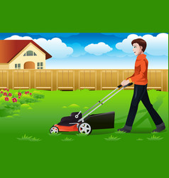 man mowing the lawn vector image