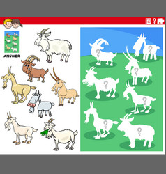 matching shapes game with cartoon goat characters vector image