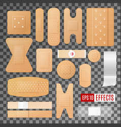 Medical plaster bandage and band wound dressing vector