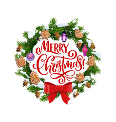 merry christmas fir wreath and cookies vector image