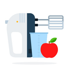 mixer with beaker and red apple flat isolated vector image