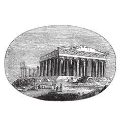 Modern parthenon athenians vintage engraving vector