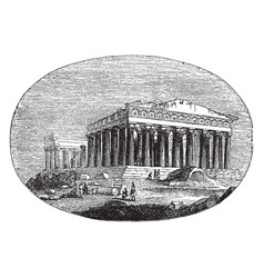 Modern parthenon the athenians vintage engraving vector