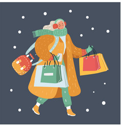 modern winter woman with shopping bags vector image