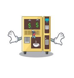 Money eye coffee vending machine in cartoon vector