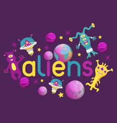 monster alien poster banner vector image