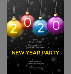 new year poster template with bright balls vector image