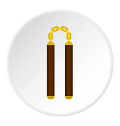 Nunchaku weapon icon circle vector