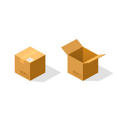 Open and closed paper box isometric vector