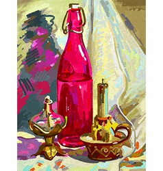 Original digital painting still life vector