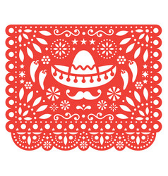 papel picado floral design with sombrero vector image
