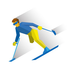 para-alpine ski disabled skier running downhill vector image