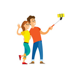 people taking selfie couple and smartphone vector image