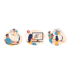 People using video chat app flat isolated vector