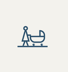 pictograph mother with baby stroller vector image