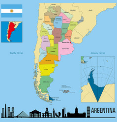 political map of argentina vector image