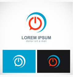 Power button communication technology logo vector