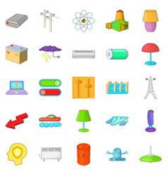 Power transmission icons set cartoon style vector