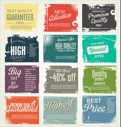 premium quality retro vintage labels collection 2 vector image