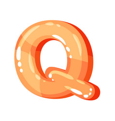 q orange glossy bright english letter kids font vector image
