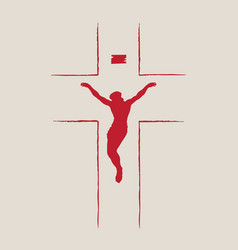 religious banner with cross and crucifix jesus vector image