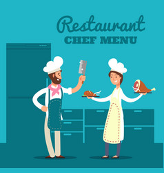 restaurant with kitchen silhouette and cartoon vector image