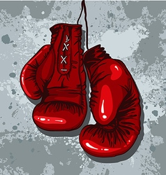 Retro boxing gloves in red vector