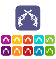 Revolvers icons set vector