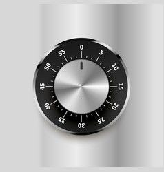 Round safe lock with numbers on bright metallic vector