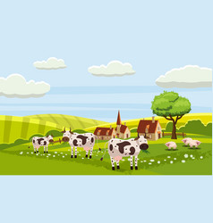rural cute farm view cow sheep vector image