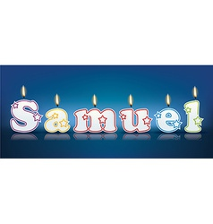 SAMUEL written with burning candles vector