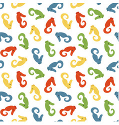 seamless pattern background with sea horses vector image
