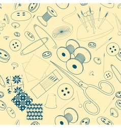 Seamless pattern with a sewing stuff monochrome vector image