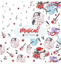 seamless patterns set with cute cartoon musican vector image